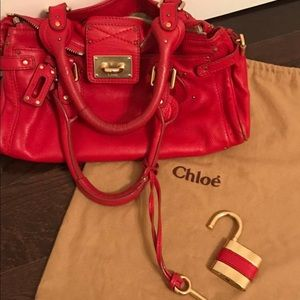 CHLOE 'Paddington' satchel bag with padlock/key